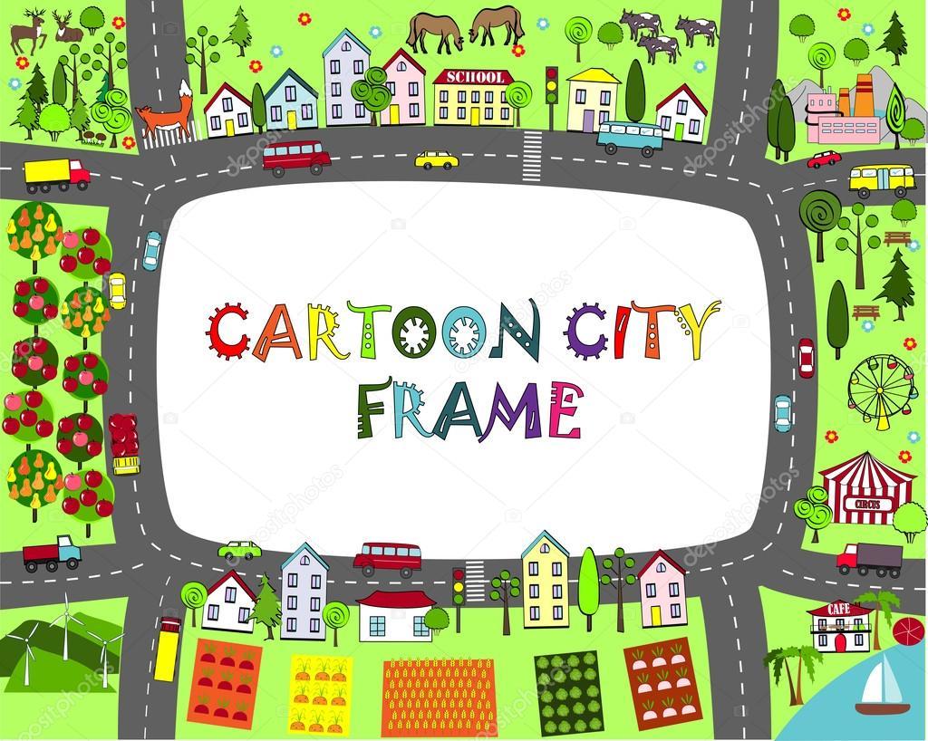 Marco de la ciudad de dibujos animados. Mapa de paisaje con ciudades ...