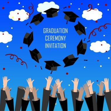 Graduate Hands Throwing Up Graduation Hats. Graduation Background. Graduation Caps in the Air.