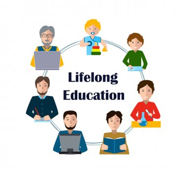 Lifelong Education Concept. Studying Man of all Generations.