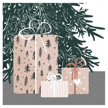 Hand drawn gift boxes under the Christmas tree. New Year home background with cute giftboxes. Vector illustration. Collection of xmas or birthday presents. Happy holidays. icon
