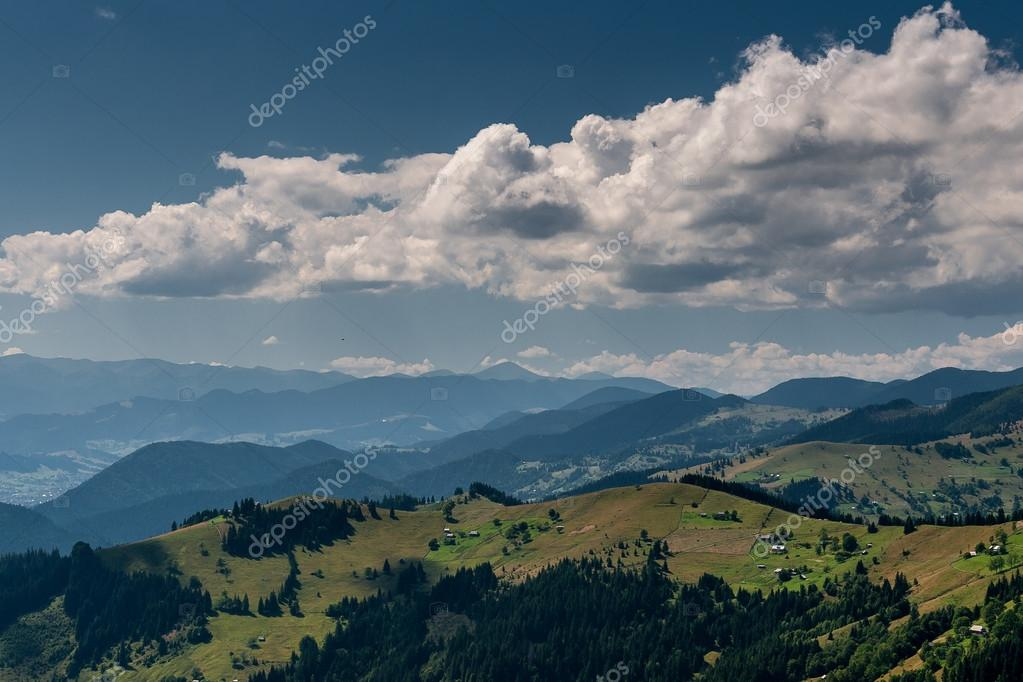 Фотообои Beautiful landscape of mountains in the misty haze.