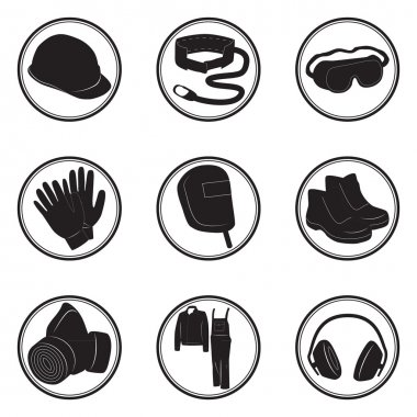 Set of icons personal protective equipment vector illustration in black color stock vector
