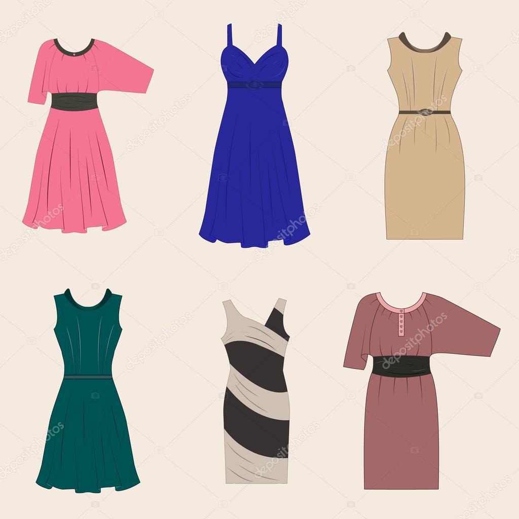 7f54a6b7aae7fb Aantal verschillende stijlen vrouwen jurken — Stockvector ...