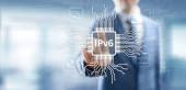 ipv6 Netzwerkprotokoll Standard-Internet-Kommunikationskonzept auf virtuellem Bildschirm