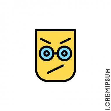Angry color icon vector. Furious Face Emoticon Icon Vector Illustration. Style. icon
