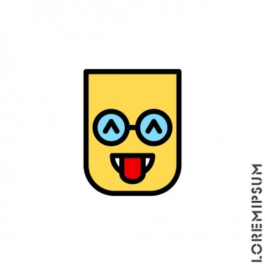 Teasing emoji color. Vector icon of cartoon teasing emoji with tongue and winking eyes in style emoticon icon