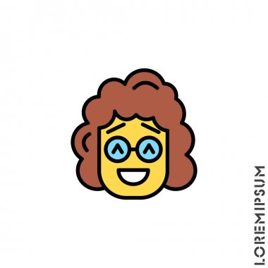 Smile yellow vector girl, woman icon, happy symbol. style sign for mobile concept and web design. Emoji symbol illustration. Pixel vector graphics - Vector. Laughing, emotion icon. Fun, face vector icon