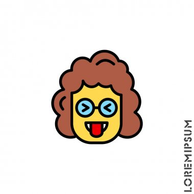 Mocking Funny Humor Eyes Closed yellow Emoticon girl, woman Icon Vector Illustration. Style. icon