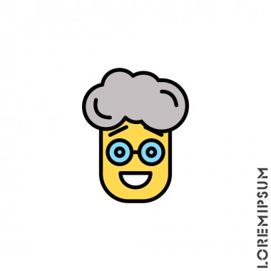 Smile yellow vector boy, man icon, happy symbol with raised eyebrows. style sign for mobile concept and web design. Emoji symbol illustration. Pixel vector graphics - Vector. icon