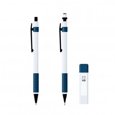.Set of automatic spring ballpoint pen in white plastic case with rubber grip and mechanical pencil with pack of pencil leads 0.5 HB. Flat vector illustration isolated on white background icon