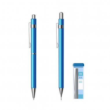 .Collection of slim automatic spring ballpoint pen in blue metallic case and mechanical pencil with pack of pencil leads 0.5 HB. Flat vector illustration isolated on white background icon