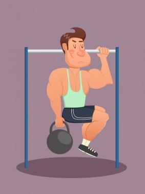 Young man doing exercises on horizontal bar