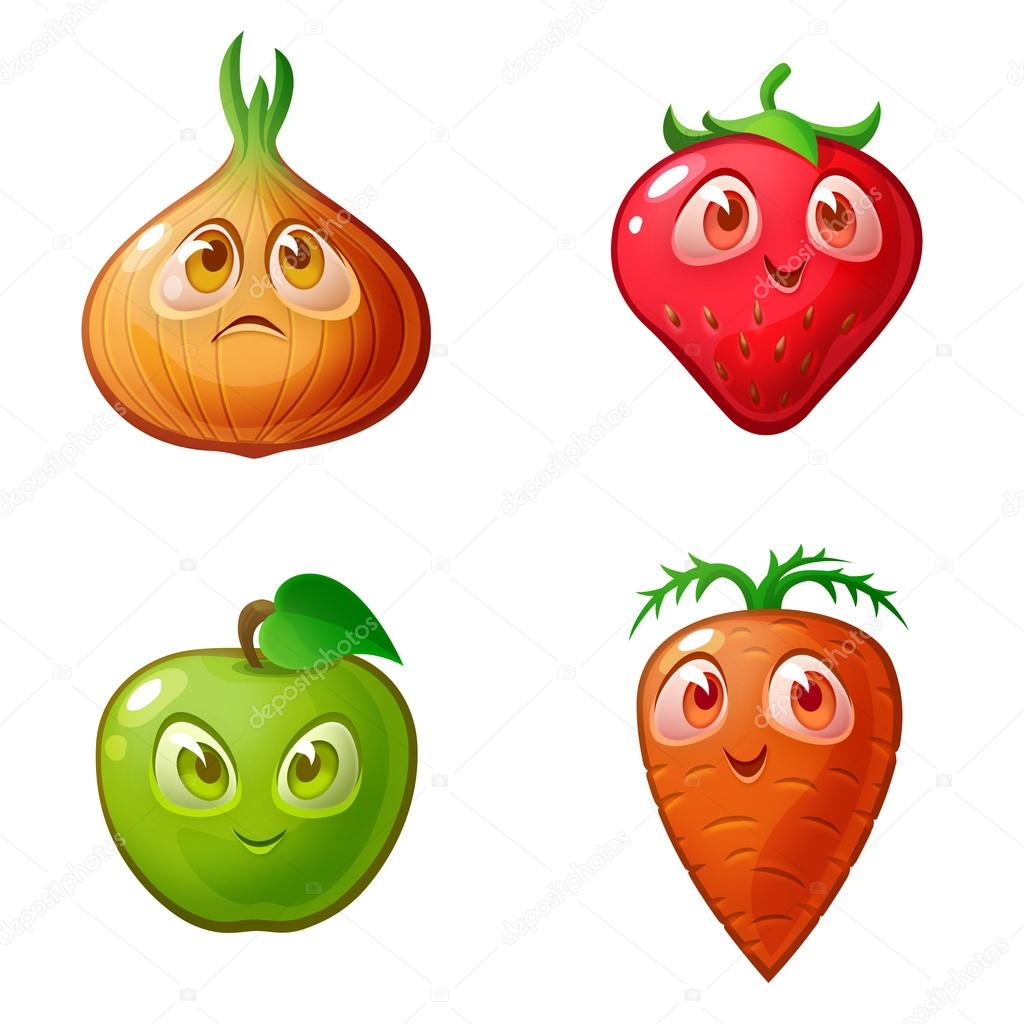 Pictures of fruits and vegetables on a white background.