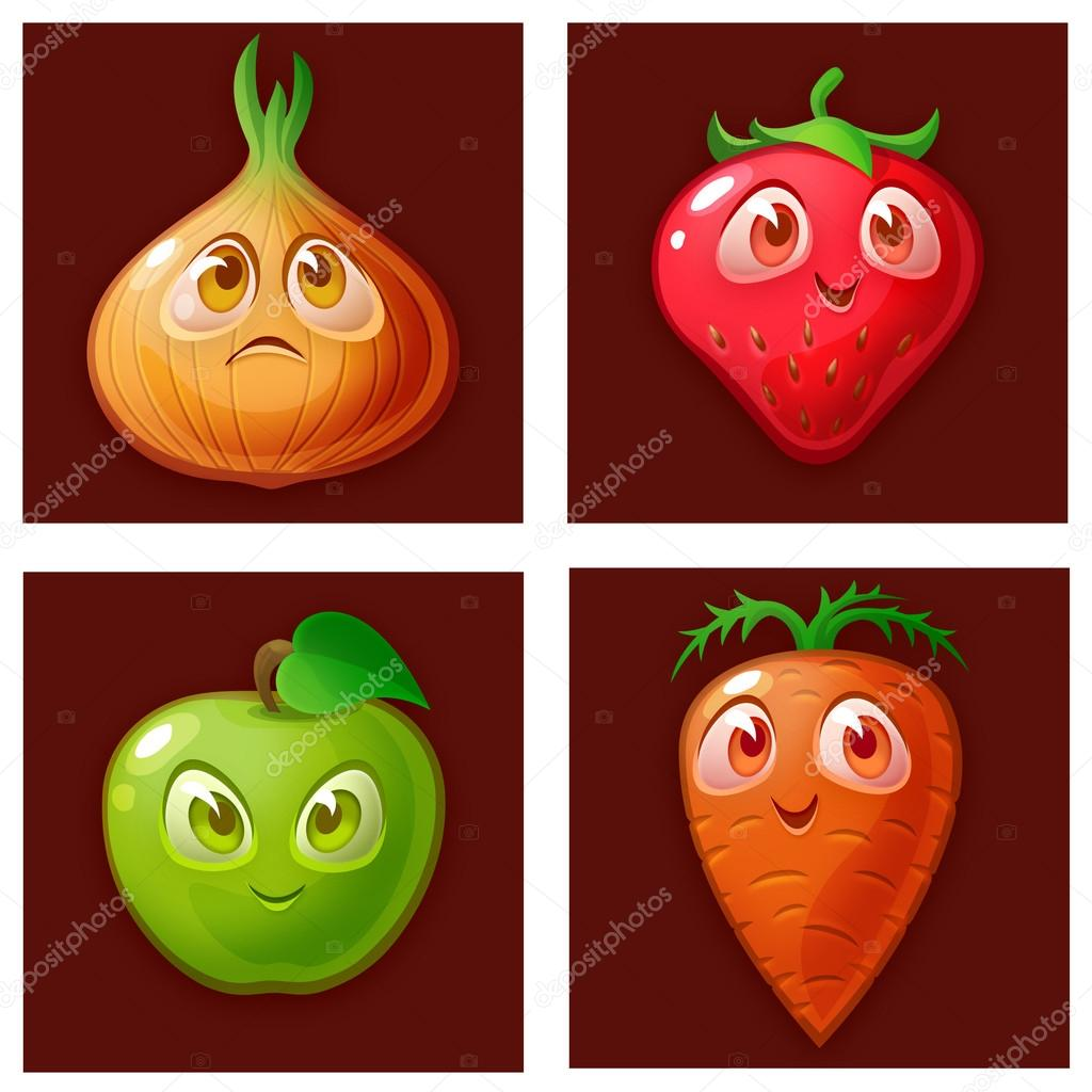 Brown checkered background with pictures of fruits and vegetables.