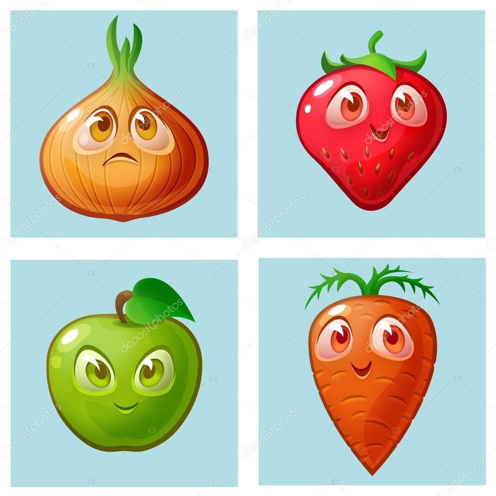 Blue checkered background with pictures of fruits and vegetables.