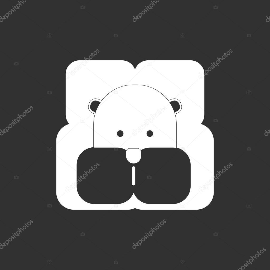 Vektor-Illustration von Tieren auf stilvollen Rahmen Nilpferd ...