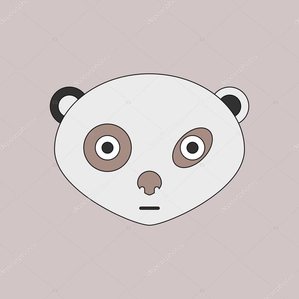 Vektor-Illustration von Tieren auf stilvollen Rahmen Panda Gesicht ...
