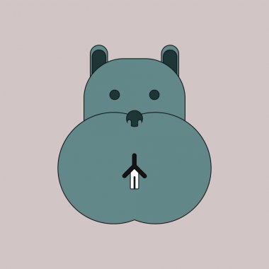 Vector illustration of animals on stylish background hippo face