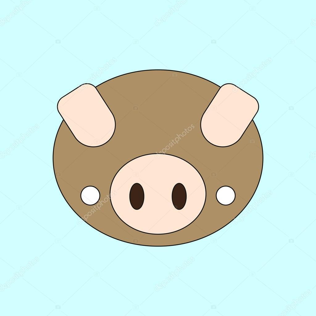 Vektor-Illustration von Tieren auf stilvollen Rahmen Schwein Gesicht ...