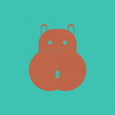 Vector illustration of animals on stylish background hippo face