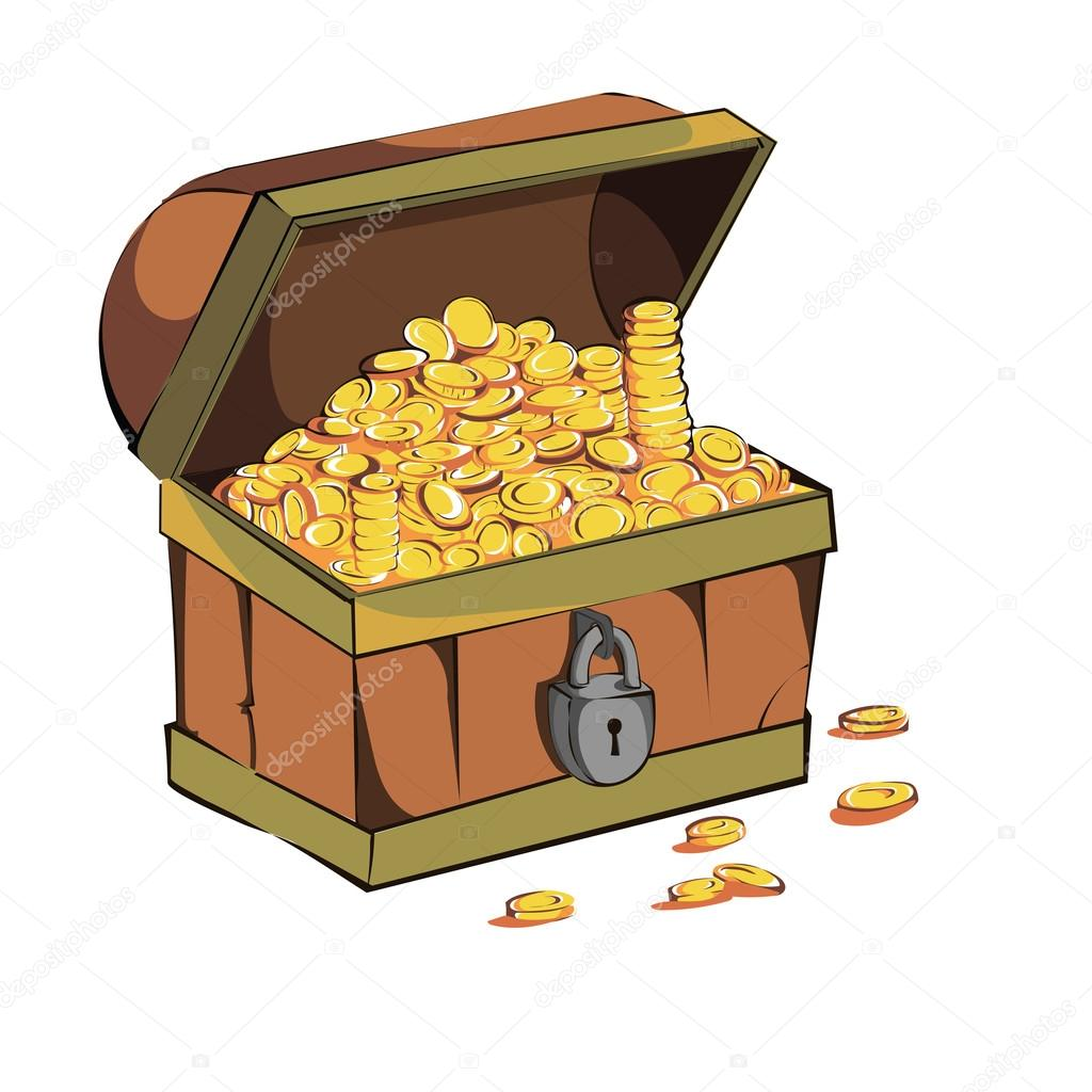 Altın Paralar Ile Sandık Stok Vektör Jorgematorin 121558080
