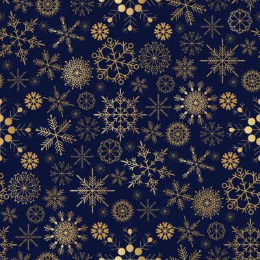 Christmas seamless pattern with  golden snowflakes. Merry Christmas and Happy New Year. Beautiful holiday ornament for unique winter design. Template background, packaging paper, cover, fabric, textile, web sait . Vector illustration icon
