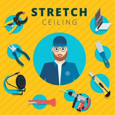 Stretch ceiling vector tools and worker illustration concept des