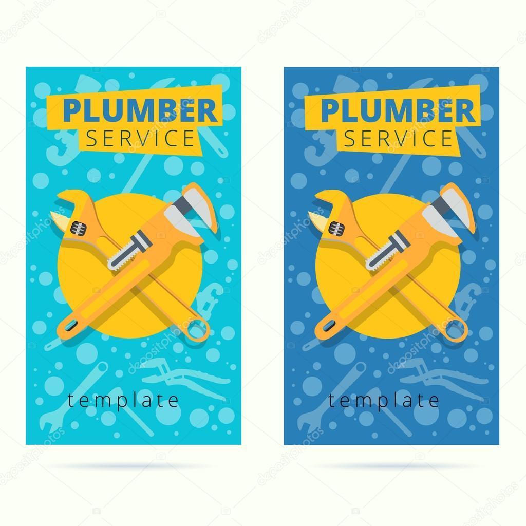Ensemble De Design Carte Visite Vecteur Plombier Service Concept Plomberie Reparation Outils Fond Plat Style Par Polegaev