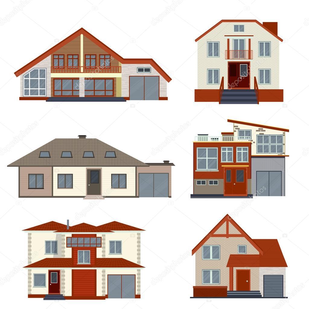 Satz von verschiedenen detaillierten Häuser und Villen-Design ...
