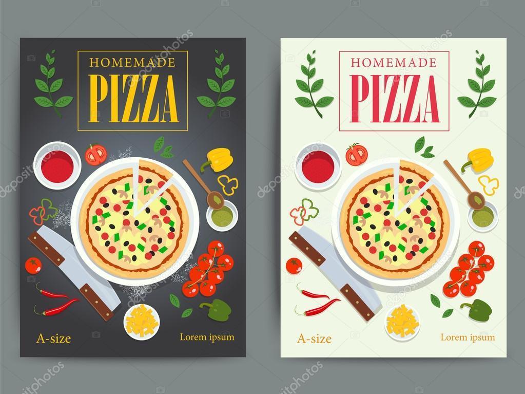Conjunto de diseño de carteles de publicidad pizzeria brillante ...