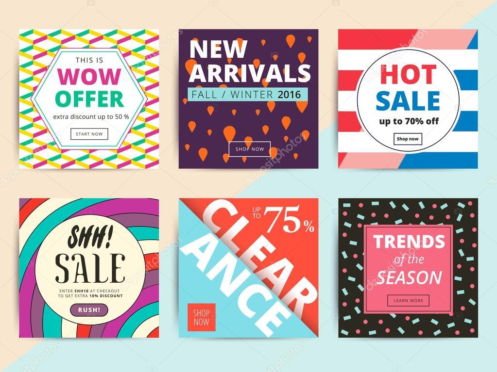 Satz von kreative social Media Banner Design für Online-Shop oder s ...