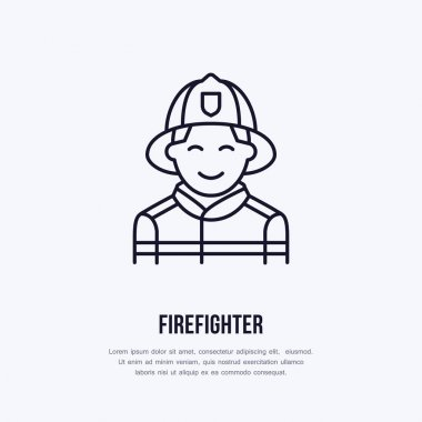 Firefighter flat line sign. Flame protection thin linear icon, pictogram. Smiling fire fighter vector isolated on white background. icon