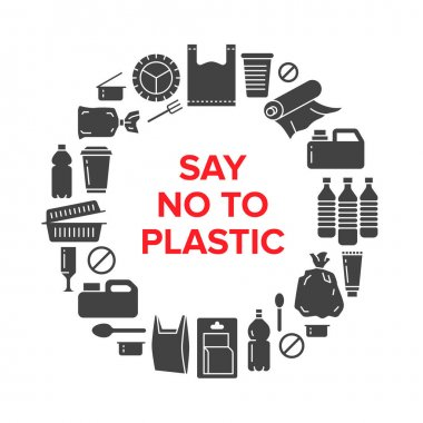 Stop using plastic circle template with flat glyph icons. Polyethylene pollution awareness vector illustration for poster. Signs of plastics waste, bag, package, canister, bottle, food container. icon