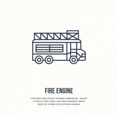 Fire engine flat line sign. Flame protection thin linear icon, pictogram. Firefighters car vector isolated on white background. icon