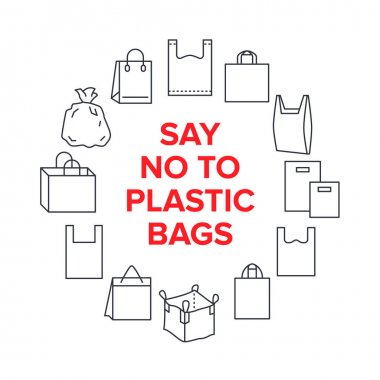 Say no to plastic bags circle template with flat line icons. Polyethylene pollution awareness vector illustration for poster. Thin signs of plastics shopping bag. icon