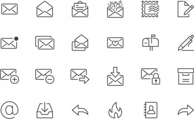 Email line icons set. Letter, spam mail, open envelope, postage stamp, mailbox, new document minimal vector illustrations. Simple flat outline signs for web. Pixel Perfect. Editable Stroke. icon