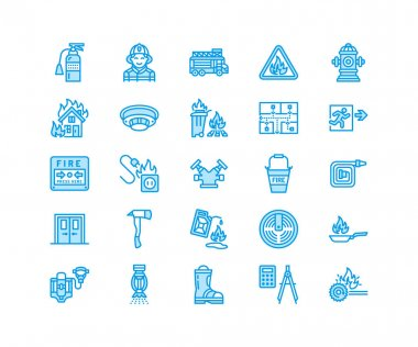 Firefighting, fire safety equipment flat line icons. Firefighter car, extinguisher, smoke detector, house, danger signs, firehose. Flame protection thin linear pictogram. Pixel perfect 64x64. icon