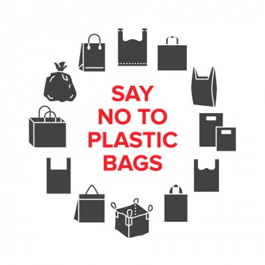 Say no to plastic bags circle template with flat glyph icons. Zero waste vector illustration for poster. Signs of plastics shopping bag. icon