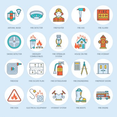 Firefighting, fire safety equipment flat line icons. Firefighter, fire engine extinguisher, smoke detector, house, danger signs, firehose. Flame protection thin linear colored pictogram. icon