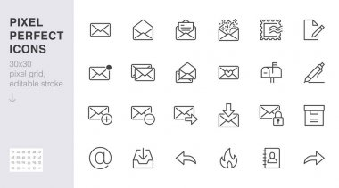 Email line icons set. Letter, spam mail, open envelope, postage stamp, mailbox, new document minimal vector illustrations. Simple flat outline signs for web. 30x30 Pixel Perfect. Editable Strokes. icon