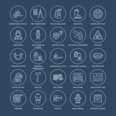 Firefighting, fire safety equipment flat line icons. Firefighter, fire engine extinguisher, smoke detector, house, danger signs, firehose. Flame protection thin linear pictogram. icon