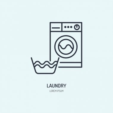 Hand washing of clothes and washing machine line icon. Vector logo for laundry or dry cleaning service. Linear illustration of gentle wash. icon