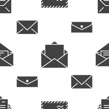 Seamless pattern with envelopes flat glyph icons. Mail background, message, open envelope with letter, email vector illustrations. Black white signs for mailing list, post office. icon