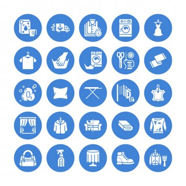 Dry cleaning, laundry flat glyph icons. Launderette service equipment, washer machine, shoe shine, clothes repair, garment ironing and steaming. Washing signs. Solid silhouette pixel perfect 64x64. icon