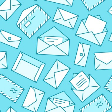 Seamless pattern with envelopes flat line icons. Mail background, message, open envelope with letter, email vector illustrations. Blue white thin signs for mailing list, post office. icon
