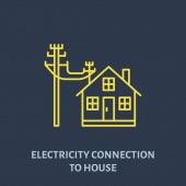 Elektromos vezetékes kapcsolat ház lapos vonal ikon. Villamosenergia-ipari illusztráció.