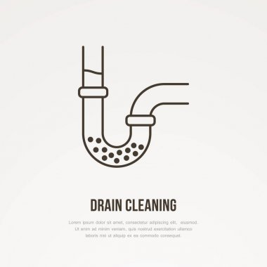 Drain cleaning flat line icon. Outline sign of blocked water pipe. Vector illustration for repair or plumbing service. icon
