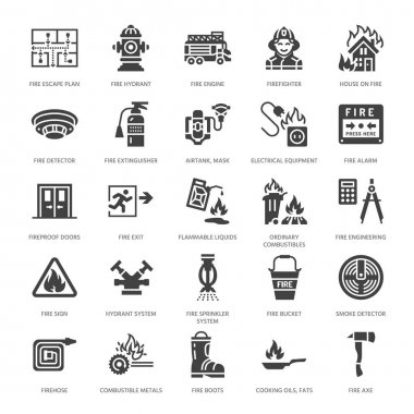 Firefighting, fire safety equipment flat glyph icons. Firefighter car, extinguisher, smoke detector, house, danger signs, firehose. Flame protection pictogram. Solid silhouette pixel perfect 64x64. icon