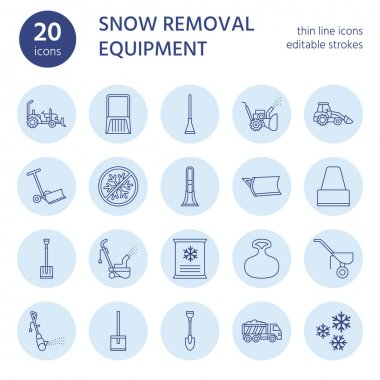 Snow removal flat line icons. Ice relocation service signs. Cold weather equipment - snow thrower, blower, truck, front loader, snow shovel. Vector illustration, industrial cleaning symbols. icon