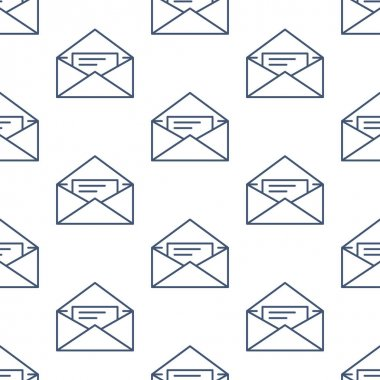 Seamless pattern with envelopes flat line icons. Mail background, message, open envelope with letter, email vector illustrations. Black white thin signs for post office. icon
